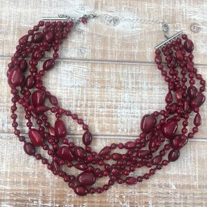 """Multi-Stranded Red Beaded Necklace 15"""""""
